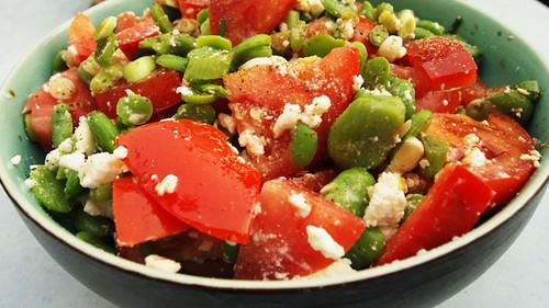 Tomato & broadbean salad