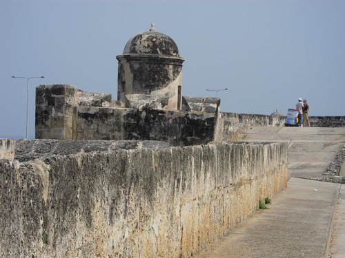 Walking along Las Murallas (the walls) that suround and protect Cartagena's historic center.