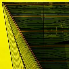 Randartig (Postsumptio) Tags: house building window glass horizontal architecture germany europe geometry frankfurt contemporary line diagonal material yellowgreen ptlens twocolors frankfurtmesse