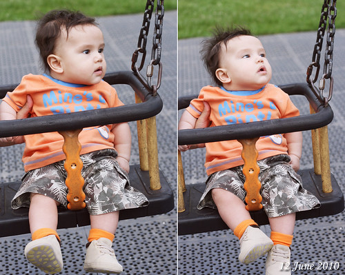his first swing ride @ the park (12 June 2010)