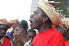 Chavannes Jean-Baptiste addresses the crowd of about 10,000 (teqmin) Tags: usaid demo haiti corn farmers seeds mpp monsanto jeanbaptiste hinche chavannes haitianpeasants gmofreeworld usforeignaid tminskyixnetcomcom antimonstanto foodsoverignty