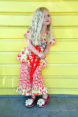 Strawberry Fields Kimono Top and Ruffle Capris (Palm Tree Princess) Tags: russiannestingdoll matyroshka dress boutiqueclothing plainjanefabric pillowcasetop rufflecapris amybutler kimono woodlanddelightfabric leanika farmersmarket skirt
