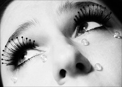 glass tears (::fotorosso::) Tags: blackandwhite bw woman selfportrait me girl self eyes eyelashes copycat stare tribute cry homage gaze weep interpretation manray glasstears