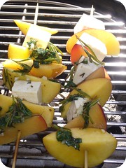 Nectarine and plum tufu skwers in rosemary thyme basic garic olive oil marinade