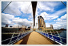Anyone for bridge? (Ian Livesey) Tags: uk bridge blue england metal shopping manchester construction salfordquays salford lowry veryblue thelowryoutletmall