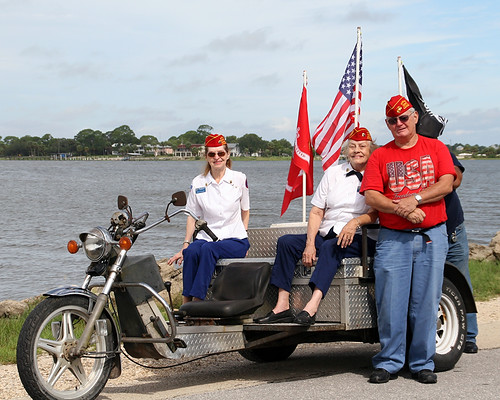Candidate for Levy County Commissioner Seat 4, Noel K Desmond, Stands with other Marine Corps Leaguers preparing for the Clamerica Parade 2010