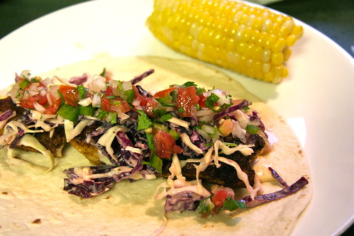 Homemade Blackened Catfish Taco with Corn
