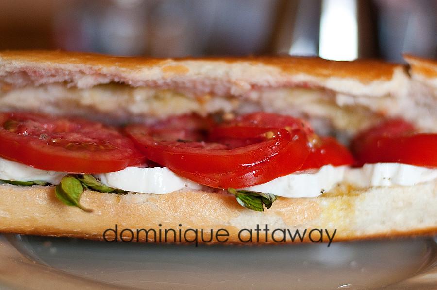 mozzarella basil tomatoe sandwich