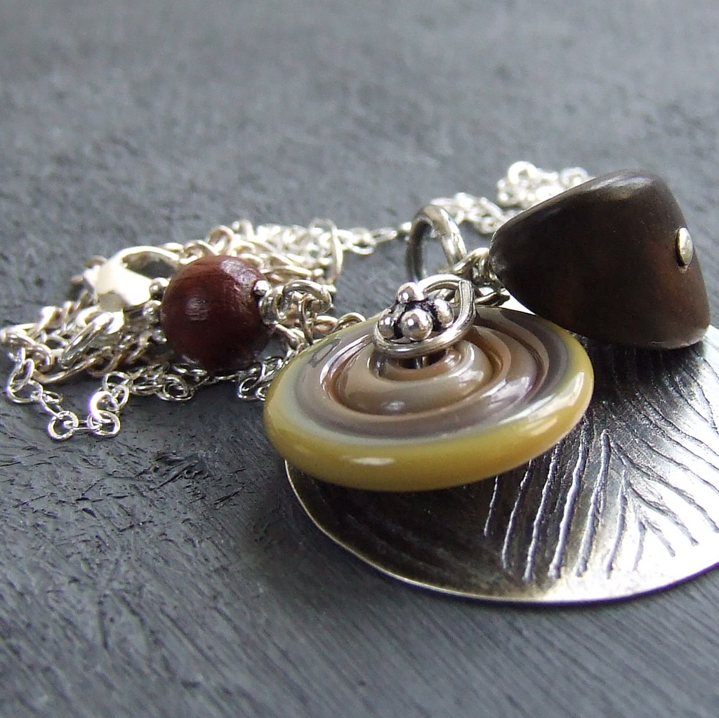 Sterling, Lampwork Glass, Wood - Necklace - 'Faux Bois'