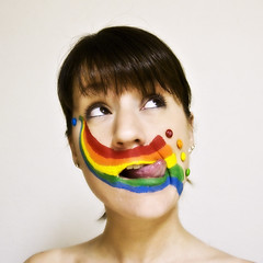 taste the rainbow (enjoythelittlethings) Tags: colors tongue self facepainting yummy rainbow mms candy chocolate again 365 primary finally faceart canon50d mfimc