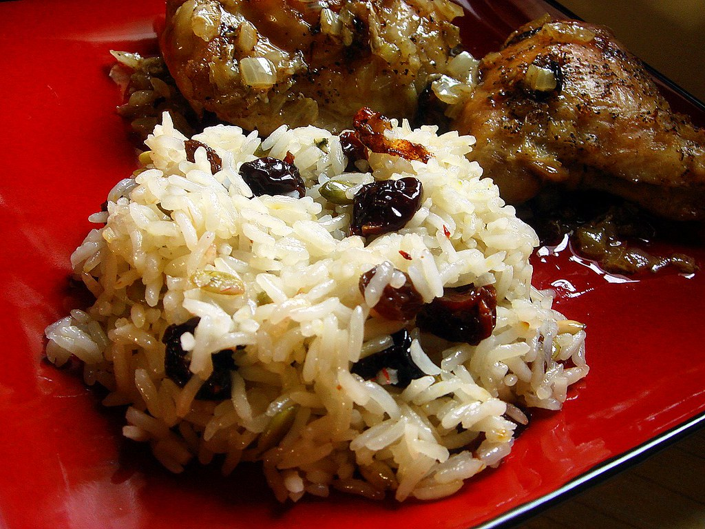 persian roasted chicken with jeweled saffron rice