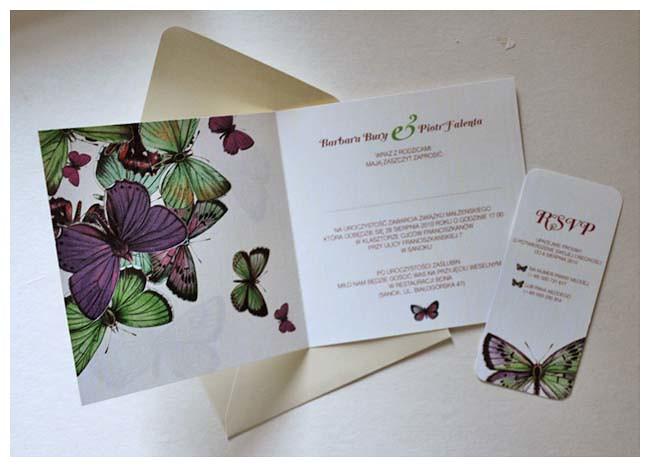 Barbara & Piotr  zaproszenia z motylami