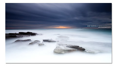 Calm. ([ Kane ]) Tags: ocean longexposure morning sea mist water print landscape army photography dawn war rocks glow respect australian australia calm qld queensland coastline kane defence gledhill kanegledhill wwwhumanhabitscomau kanegledhillphotography