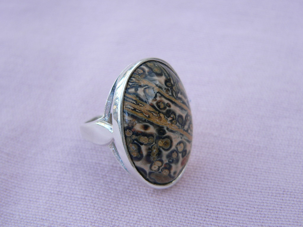 Leopardskin Jasper Sterling Silver Ring