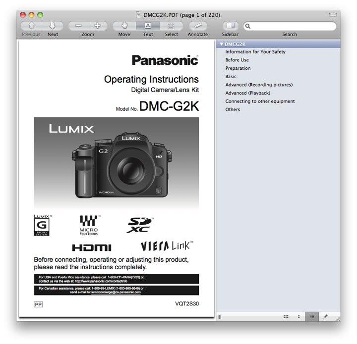 Panasonic DMC-G2 Manual