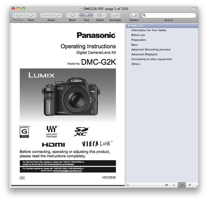 Panasonic DMC-G2 Manual