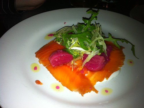 Cured Steelhead with Creme Friche, Fennel & Chioggia Beets