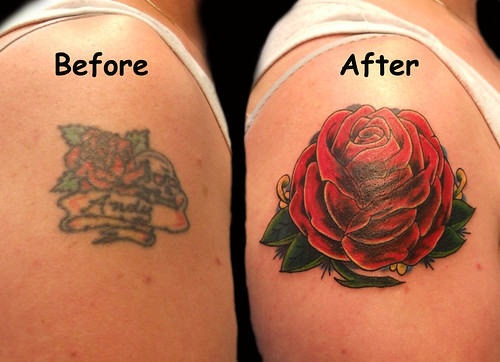 Old School Rose Cover Up Tattoo by PauloTattoos. Paulo Madeira Tattoo Artist