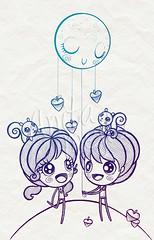 Acorns lineart (Anita Mejia) Tags: boy moon cute love girl illustration squirrel heart traditionalart kawaii acorns ilustracion inks mywinners chocolatita anitamejia