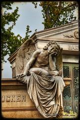 Crocker's Angel (Sea Lily Studio) Tags: sculpture monument cemetery statue stone angel oakland wings rip tomb mausoleum bayarea coffin crypt hdr crocker guardian cask