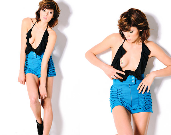 Halter Neck Top, Blue Shorts, Studio Fashion Photography