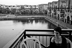 Flavie on a Wapping balcony (Gary Kinsman) Tags: portrait bw woman water blackwhite chair noir cigarette balcony smoke basin canon5d railing fag wapping 2010 shadwell canon1740mmf4l