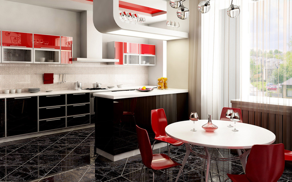 Red, Black & White Kitchen