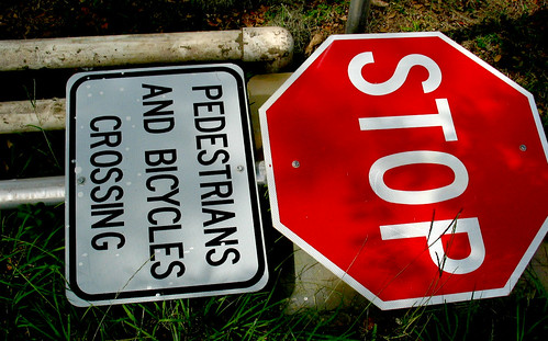 Stop Sign Bicycle Crossing Sign Grass PVC