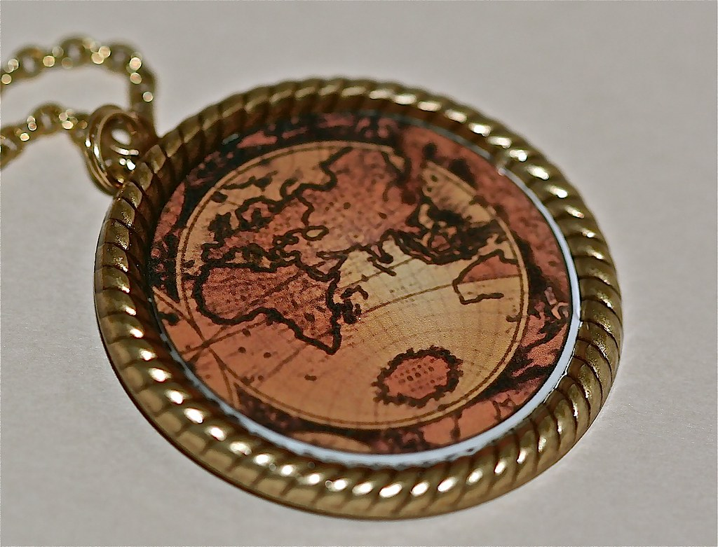 Antique Map and Antiqued Gold Pendant Necklace