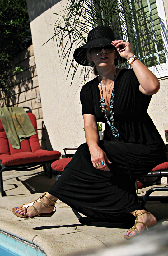 by the pool+caftan+sun hat+gold gladiators+squash blossom necklace