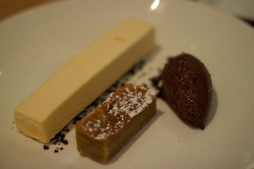 mandarin parfait, almond cake and soft chocolate