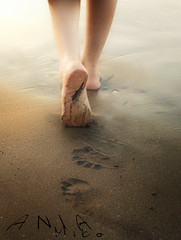 Sunset Stroll (Poe Tatum) Tags: sunset woman beach water girl female foot sand walk bare stroll