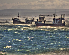 Fishing Boats in gale
