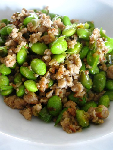 Fried Young Soy Beans with minced meat