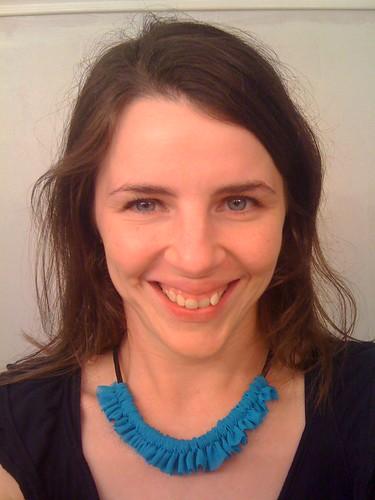 Ruffle Necklace - turquoise chiffon