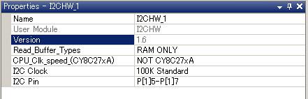 I2C master I2CHW module setting