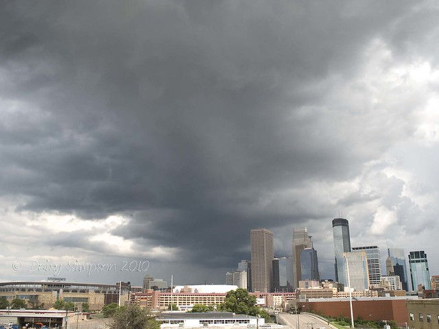 mpls skyline storm clouds