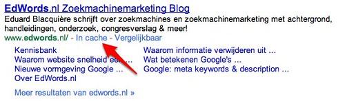 Google.nl zoekresultaat EdWords.nl