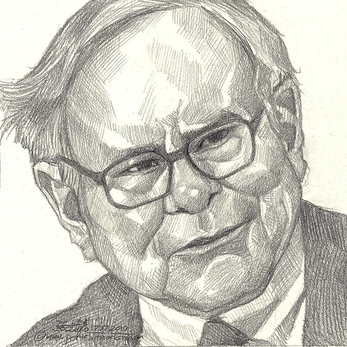 Pencil portrait of God of Stocks Warren Buffett