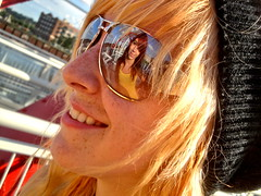 reflection (Liberated Soul Photography) Tags: life city friends sky sun white hot color building cute girl abbey hat by person glasses see downtown jake bright live awesome abby young deep taken happiness sunny iowa des chick teen blond walkway moines kool monahan vada smille