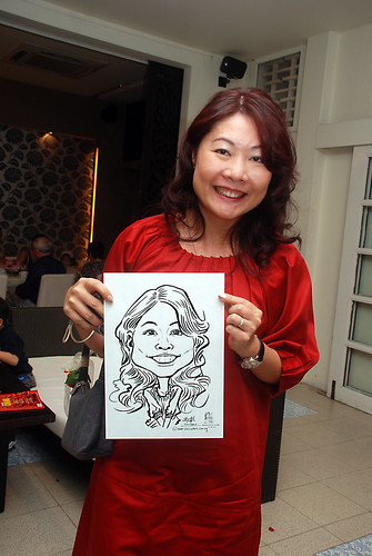 caricature live sketching for David & Christine wedding dinner - 13