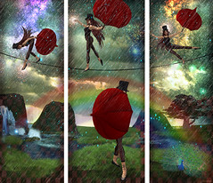 triptych for Arteer (MiaSnow) Tags: art umbrella design rainbow artist circus digitalart peacock sl rainy secondlife tightrope epic freelance arteeroliva miasnow miasnowmyriam tymia justdivine visiblytalented tightropwalker