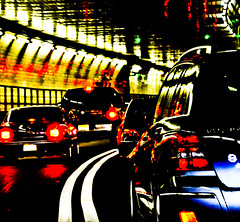 Tunneling (wesbs) Tags: city nyc newyorkcity urban newyork color colour cars colors car driving colours traffic tunnel headlight taillights hollandtunnel tailights wesbs