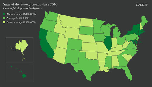 Obama Approval Rating by State, 2010