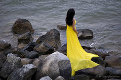 The woman in yellow (GlacierTim) Tags: romantic yellowdress longdress womanindress girlonbeach flowingdress womaninlongdress girlattheocean longflowingdress womanatthewater
