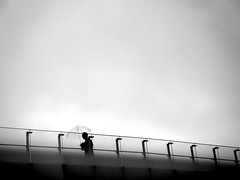 344/365: Rainy Season (joyjwaller) Tags: bridge blackandwhite lines japan umbrella person tokyo perspective commute rainyseason hamamatsucho project365 gointawork