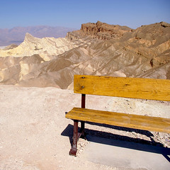 is there anybody out there ? (_The Creature from the Black Lagoon_) Tags: california ca usa yellow bench point death valley deathvalley zabriskie zabriskiepoint californie