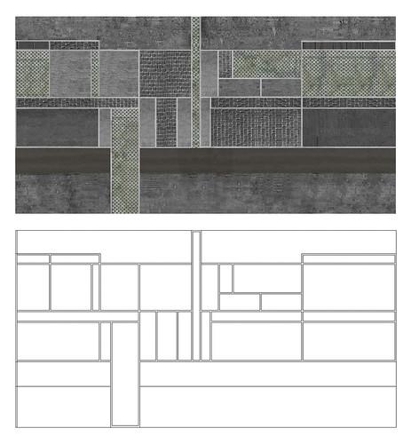 Ο καμβάς (pattern) διαμόρφωσης των οδών: κενός (κάτω) και γεμισμένος από τα υλικά που βρέθηκαν στην μάντρα της Χελιδωνούς (πάνω).