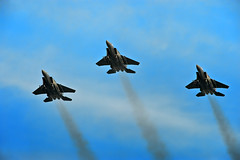 TJK_7260 (Andrew JK Tan) Tags: sky speed nikon singapore day eagle aircraft military smoke jet trails sigma 300mm formation national ndp trio fighters d3 preview 2010 f15 flypast strikeeagle 600mm