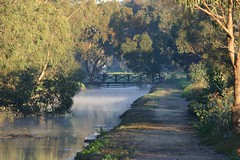 Early Morning Mist (Mike - through my eyes) Tags: morning bridge mist abbey perth wetlands wa brook herdman